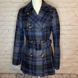 🔥HOST PICK🔥TOMMY HILFIGER Blue Plaid Trench coat